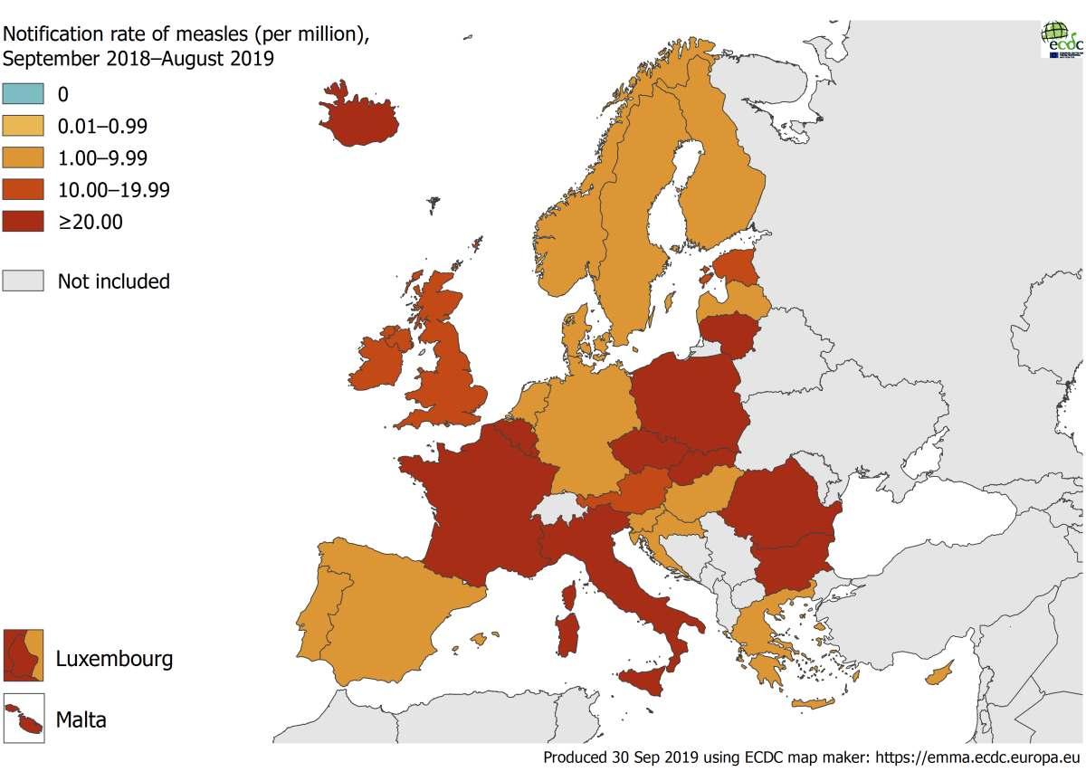 A fost publicat raportul european privind rubeola si rujeola. România, Franța și Italia sunt țările cu cele mai multe cazuri