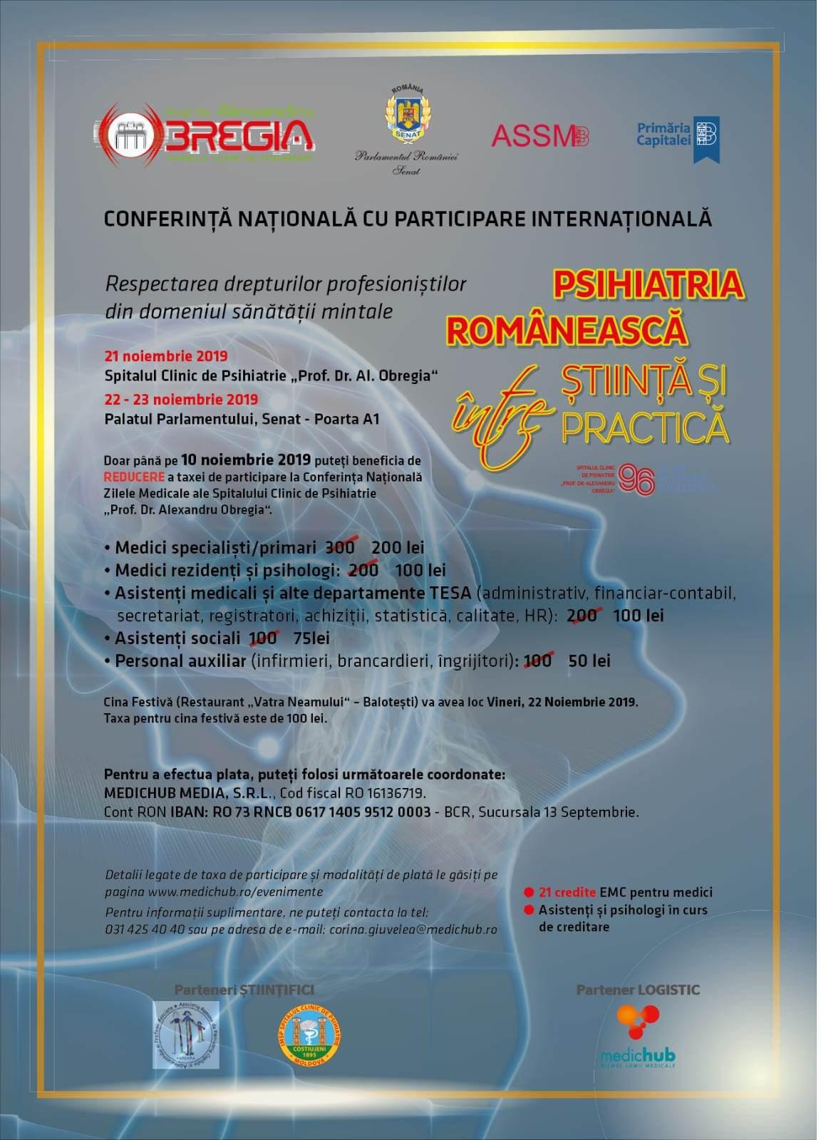 Conferință cu participare internațională: Psihiatria românească, între știință și practică