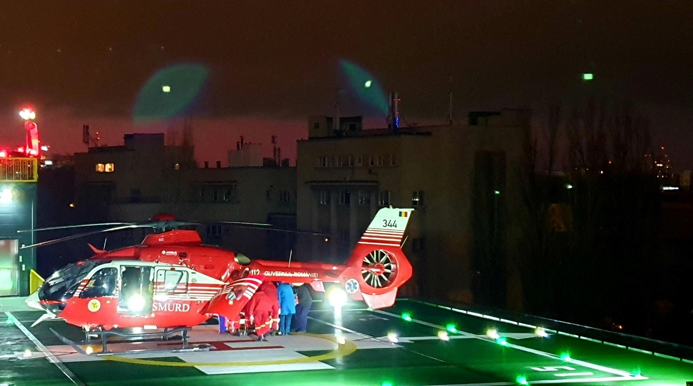 Cinci pacienți cu infarct și o pacientă cu pericardită hemoragică, transferați cu elicopterul la SUUB