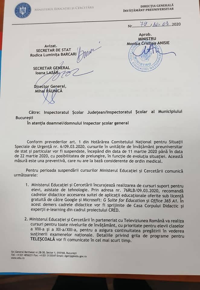 propunere-educatie-suspendarea-cursurilor-coronavirus-romania